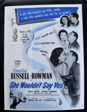 She Wouldn't Say Yes (1945) - Rosalind Russell | Vintage Trade Ad